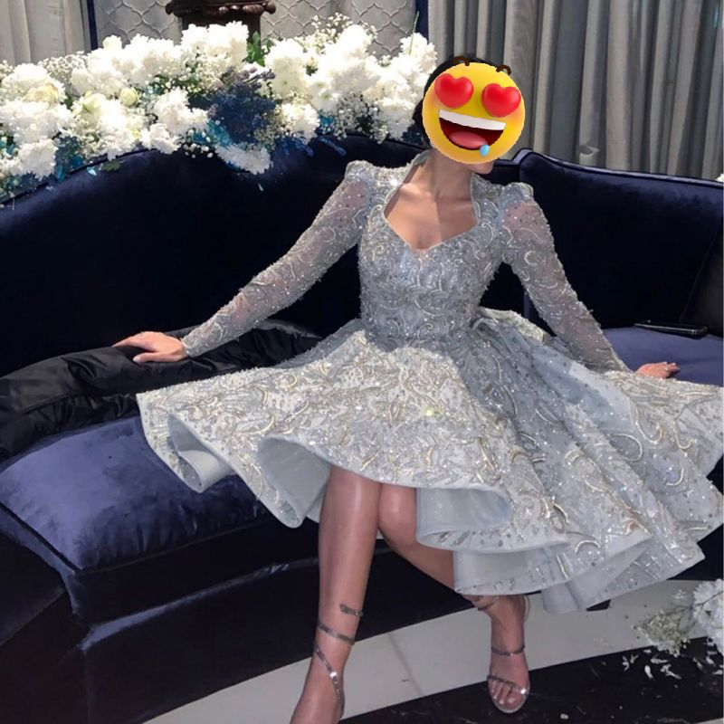 UZN Silver Short Prom Dress Beading A-Line Square Neck Long Sleeves Evening Gown Saudi Arabia Party Custom made