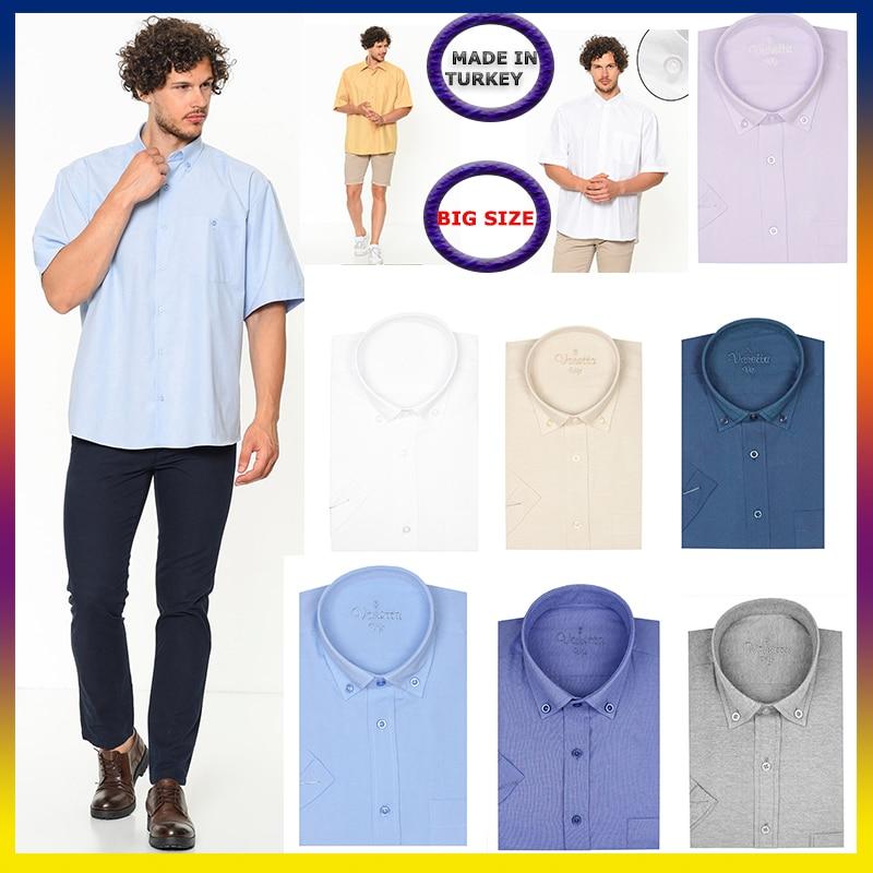 Short Sleeve Casual Shirt Men's Solid Cotton Oversize Businees Office Shirts Beach Blouse 2021 Summer Clothing Plus Size Varetta