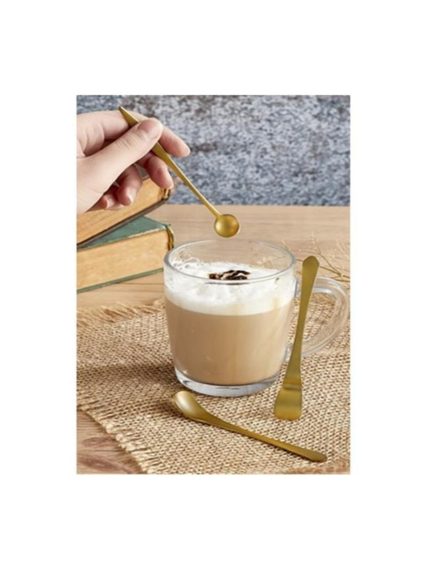 ديكور الشمال الفولاذ المقاوم للصدأ مطلية بالذهب 6 قطعة القهوة و ملعقة صغيرة deasning كمية مسحوق ملعقة لوازم المطبخ