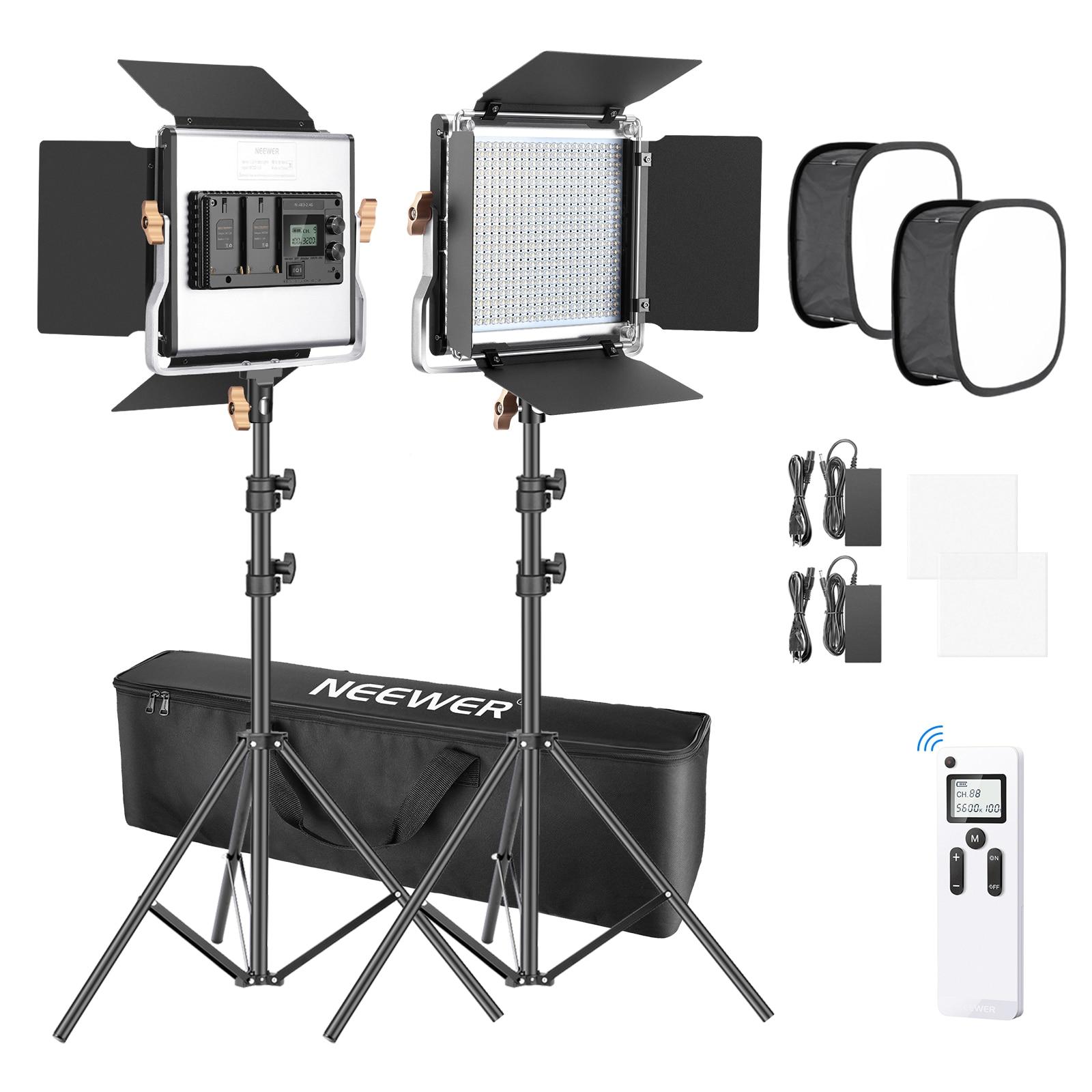 Neewer 2 حزم 480 LED الفيديو ضوء التصوير الإضاءة كيت ، LED لوحة مع 2.4G اللاسلكية عن بعد ، 660 LED لوحة و ضوء موقف