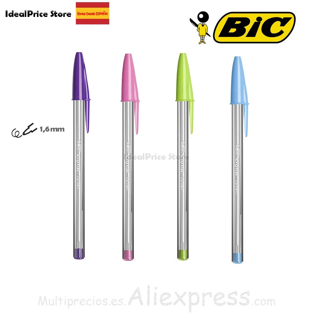 BIC Cristal Fun® bolígrafos Punta Ancha 1,6 mm – Rosa ,Verde Lima ,Morado ,Turquesa