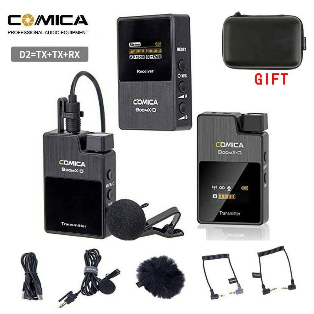 Comica BoomX Boom XD 2.4G ميكروفون لاسلكي رقمي عدة الارسال ميكروفون صغير للهاتف المحمول استقبال الفيديو هيئة التصنيع العسكري