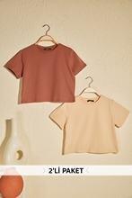 Trendyol Beige et marron 100 coton cyclisme cou 2li paquet récolte tricoté T-Shirt TWOSS20TS1480