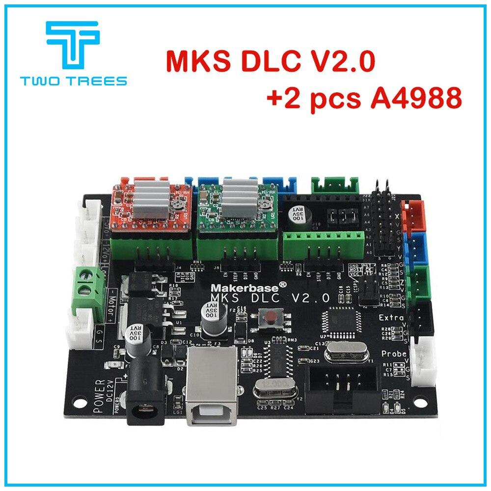 Makerbase, MKS DLC V2.0 con A4988 GRBL, láser fuera de línea, CNC, máquina de grabado, tabla UNO R3, plato de expansión