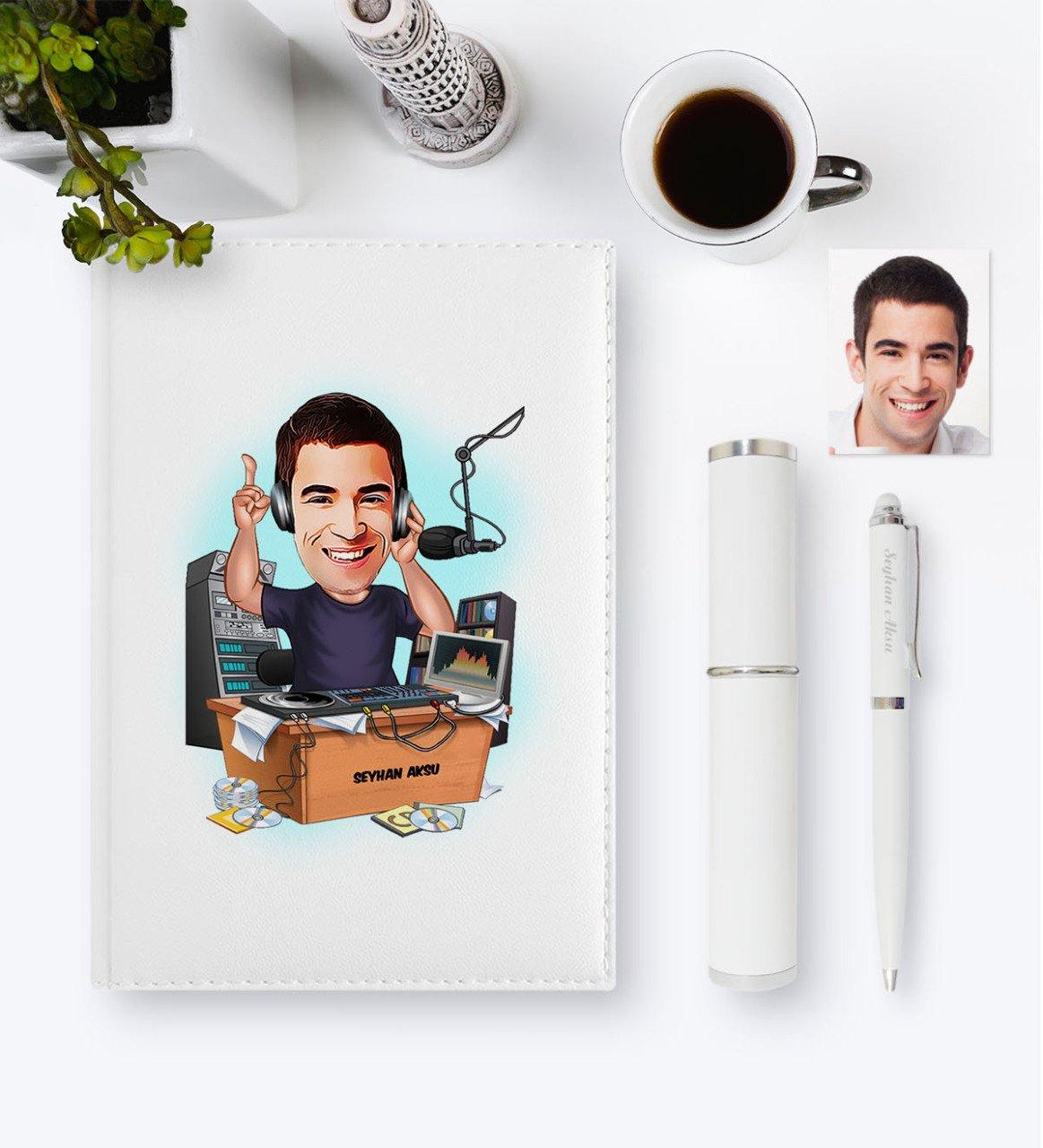 Personalized Mr Radio Broadcaster Cartoon 2020 Leather Organizer & Pen Gift Set-1