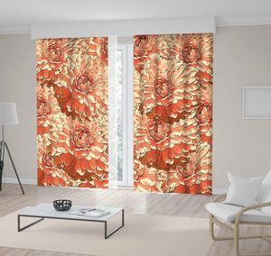 Curtain Vintage Floral Pattern Summer Flowers Blooms Nature Monochrome Artwork in Coral Color Print