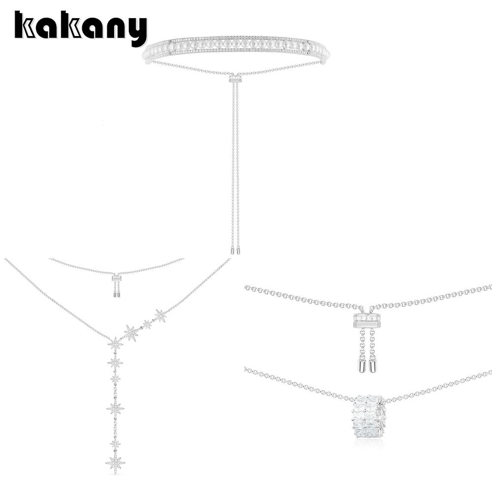 Kakany 2020 novo pingente meteoro duplo-camada anel de pedra duplo-anel incrustado ajustável colar de pérolas jóias femininas