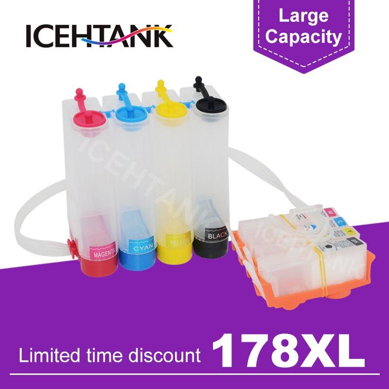ICEHTANK 178 XL continua tanque de tinta para HP Photosmart 5514, 5515, 5520, 5521, 6510, 6512, 6515, 6520, 6521, 7510, 751 impresora