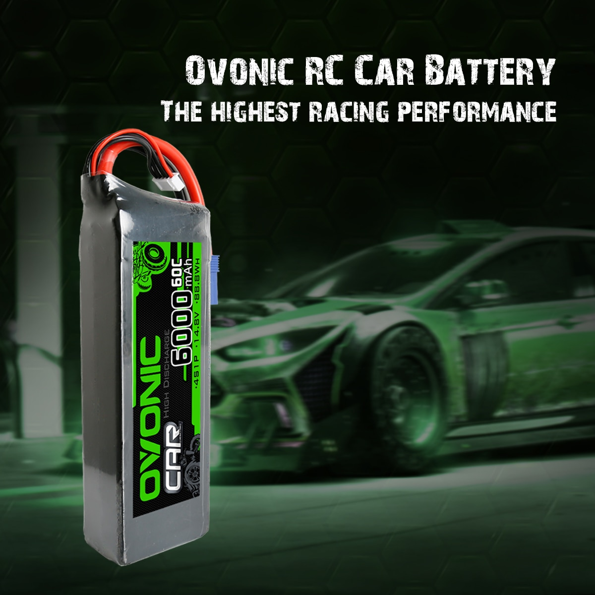 Oovnic 4S RC Lipo Battery 60C 14.8V 6000 MAh 4S LiPo Battery Pack With EC5 Plug For 1/5 Arrma For Outcast Kraton 8S enlarge