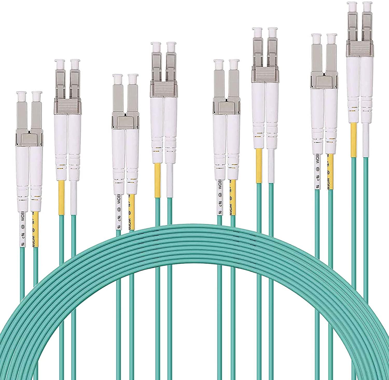 4PCS OM3 LC to LC Fiber Optical Patch Cord 50/125 Multi-Mode Duplex LSZH 3m/10FT