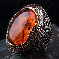 sterling silver mens ring with large synthetic amber stone fashion turkish premium quality handmade jawelery