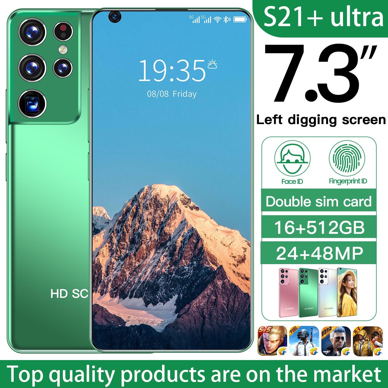 2021 Newest Smartphones Galax S21 Ultra 5G Cell Phone 16+512GB Andriod 10.0 6800mAh Big Battery 24+48MP Dual SIM Telephone