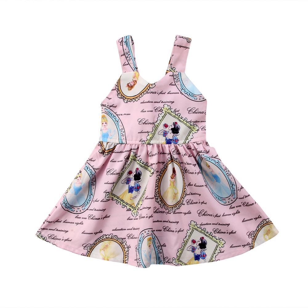 Nette A-line Casual Mode Neugeborenen Kind Baby Mädchen Snow White Print Backless Rosa Prinzessin Ärmelloses Party Kleid Sommerkleid 0-3Y