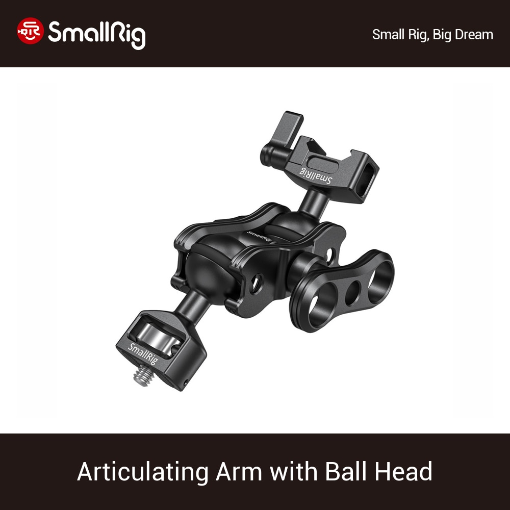 "SmallRig Articulating Magic Arm Extension Arm with 1/4"" Thread Screw Ballhead and NATO Clamp Ballhead For DSLR Monitor -2071"