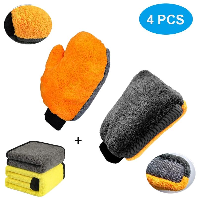 4Pcs Ultra Large Car Wash Glove Microfiber Wash Mitt Soft Coral Fleece Anti-Scratch With Car Cleaning Towel Car Wash Accessories