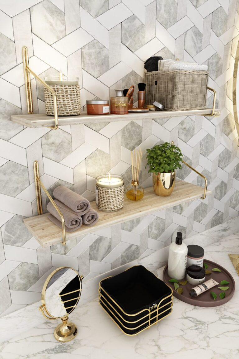 الصلبة المقاوم للصدأ الذهب رف جدار مجموعة من 2 الجدول تخدم الرف الزخرفية تفكيكها المطبخ الحمام المنظم الخشب ضخمة