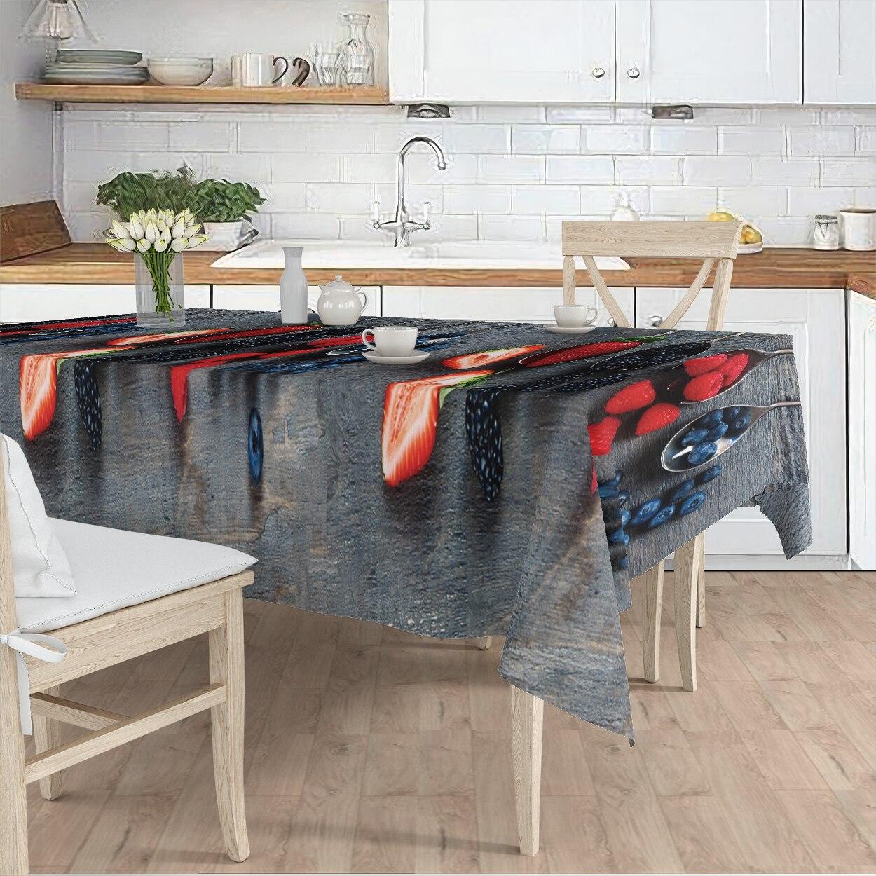 مفرش المائدة غرفة المعيشة المطبخ رمادي الفاكهة الفراولة نمط مايكرو غطاء من القماش عداء نمط شحن مجاني