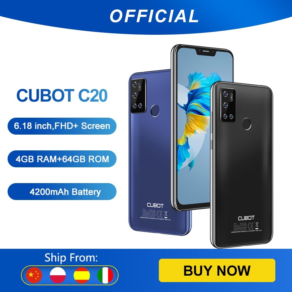 Cubot C20 смартфон на андроид 10 NFC Поддержка Google Pay 12MP Камера 4 Гб+64 Гб мобильные телефоны 6,18 дюймов FHD + безрамочный экран 4200мАч Большая Батарея со...