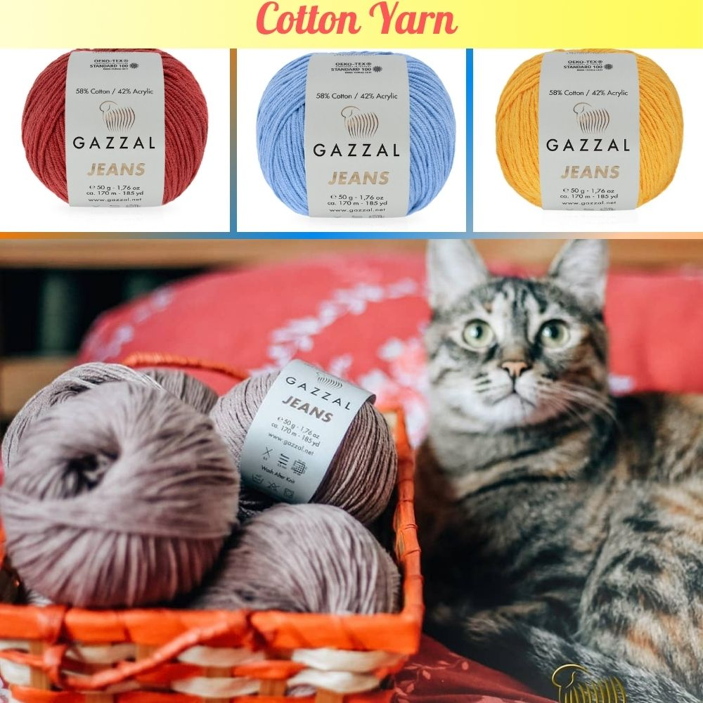 Cotton Jeans Knitted Yarn 39 Color Options 170 Meters(50gr) Hand Knitting Yarn Ball - Gazzal Cotton