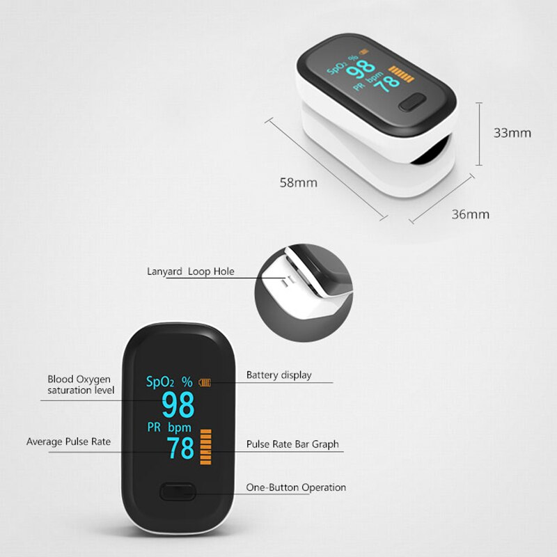 Portable Finger Oximeter OLED Household Pulse Oximeter Blood Oxygen Saturation Meter SpO2 PR Heart Rate Monitor Health Care