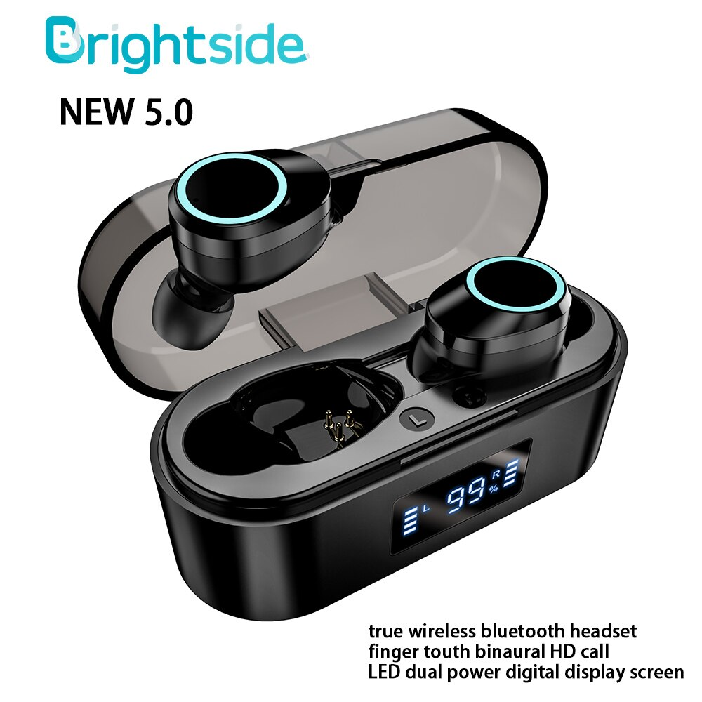 Tws verdadeiro fone de ouvido sem fio bluetooth 5.0 earphones300mah caixa carregamento estéreo esportes à prova dwaterproof água fones