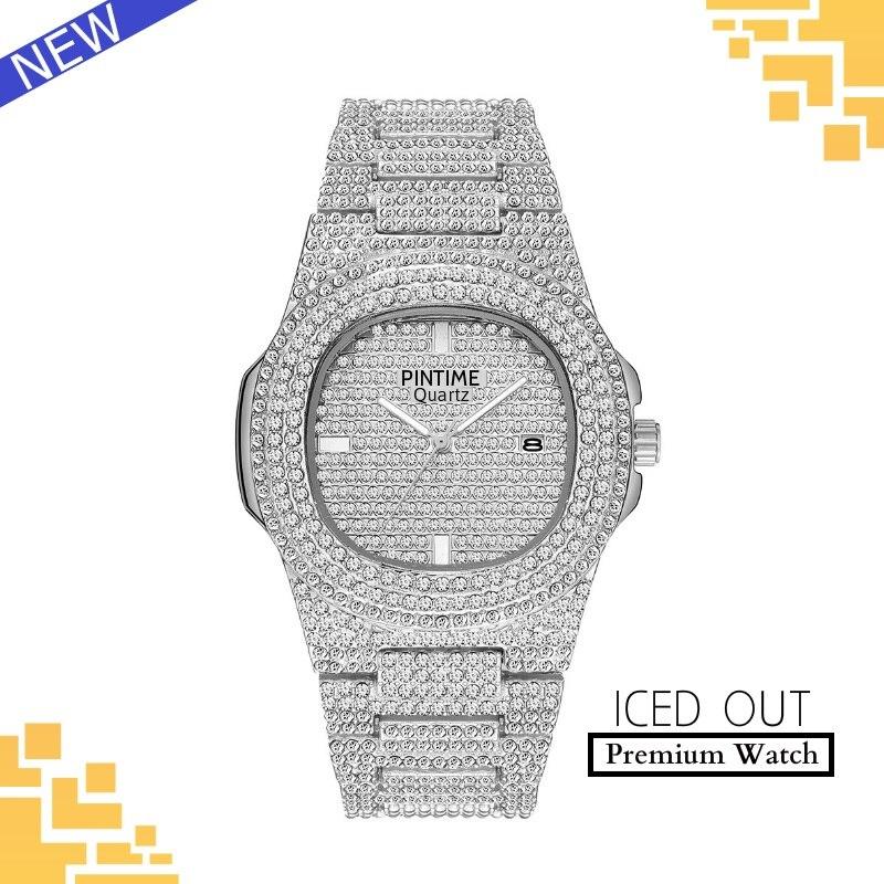 Diseño de lujo Iced Out Watch Hombres Mujeres Calendario de cuarzo Diamond Relojes para hombre Top Brand Luxury Gold Women Steel Reloj Relojes de pulsera Rolex Audemars Piguet Patek Philippe Omega Cartier Hublot TAG