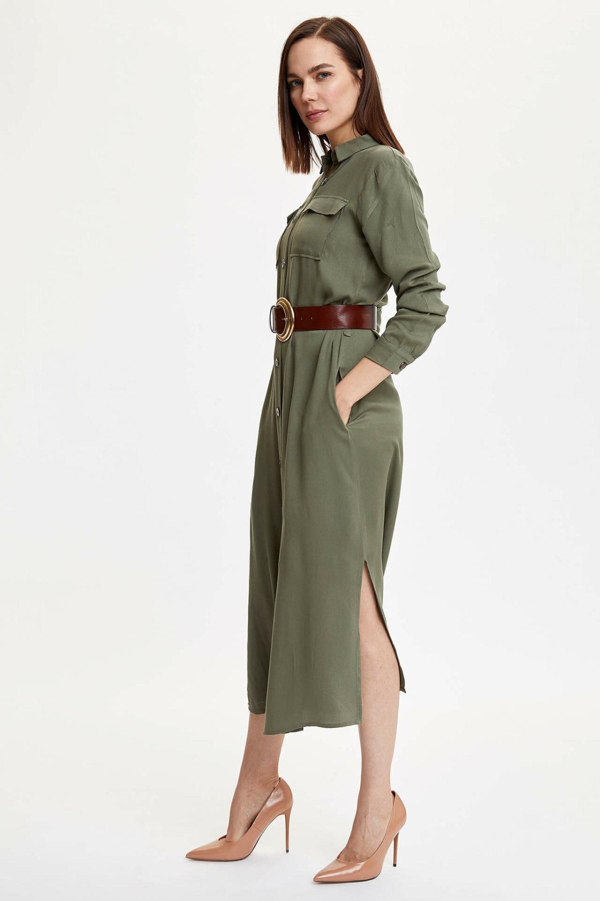 DeFacto Woman Woven Dress Women Spring Long Dresses Women Casual Basic Color Shirt Dress Women Elegant Dresses-M9356AZ20SP