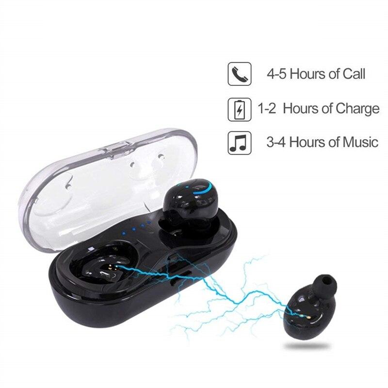 TWS Bluetooth 5.0 Headset Stereo Waterproof earloop Wireless Earphones With microphone Charging Box