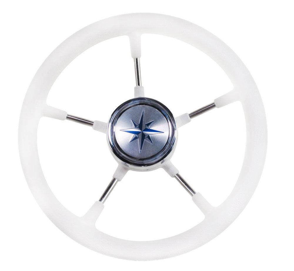 Volante Riva RSL borde blanco, radios plata D. 360mm vn735022-08