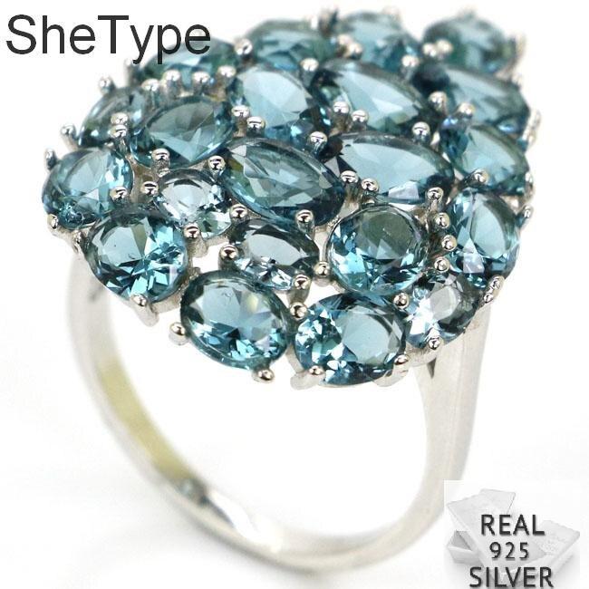 28x20mm Ziemlich 4,8g Dark London Blau Topas Damen Echt 925 Solide Sterling Silber Ringe