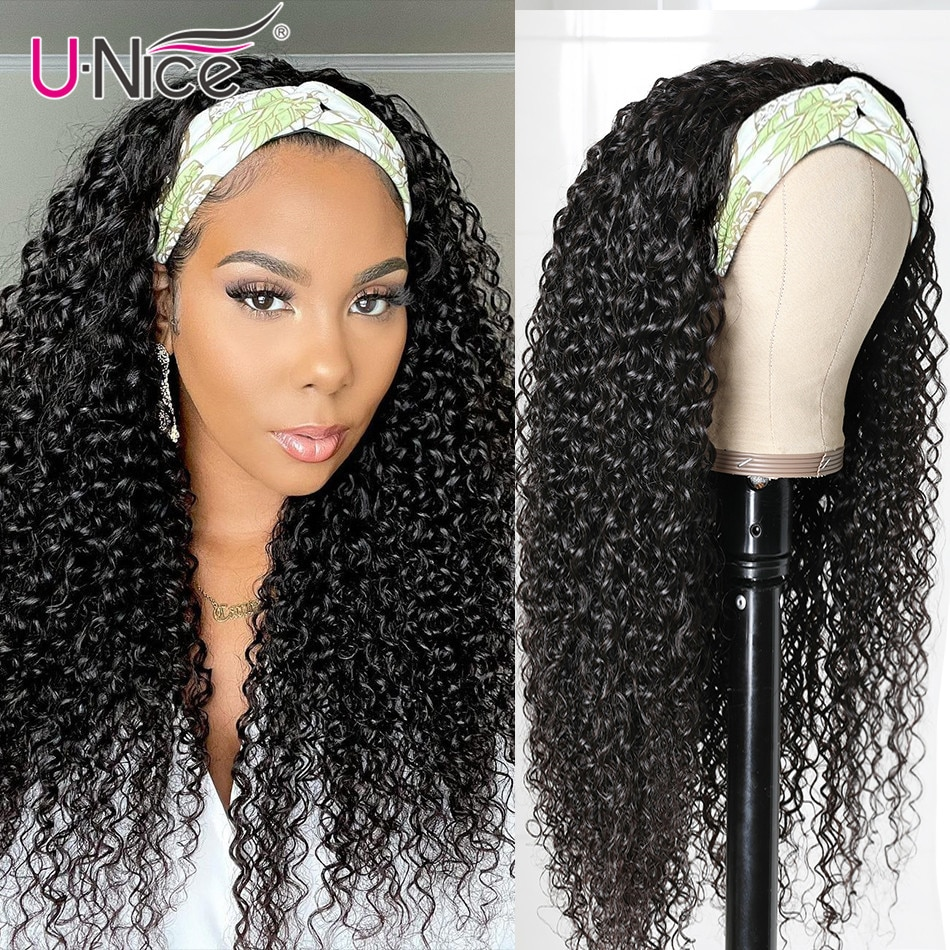 Unice Hair Curly Human Hair Wig Glueless Headband Wig Human Hair Wigs with Free Headband 150% Density For African American Women