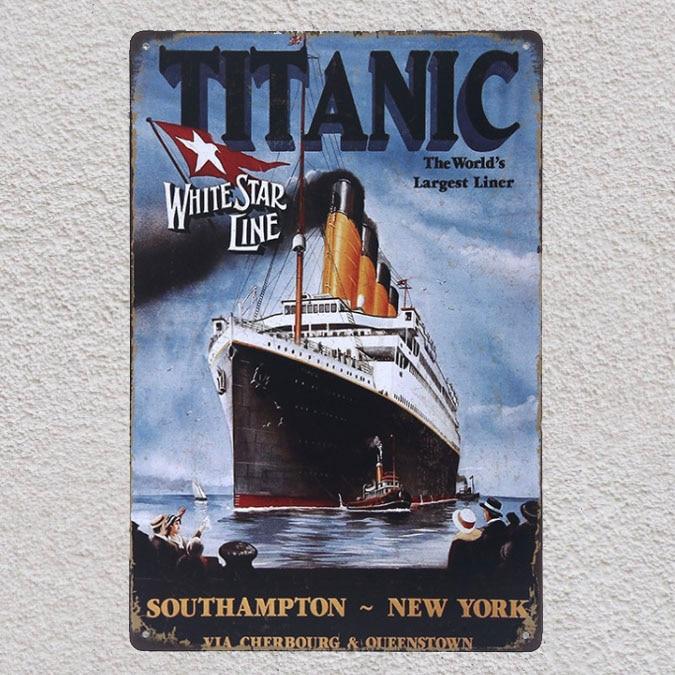 1 peça titanic afundando navio nova iorque placas de estanho sinais parede homem caverna decoração barra arte retro vintage poster metal
