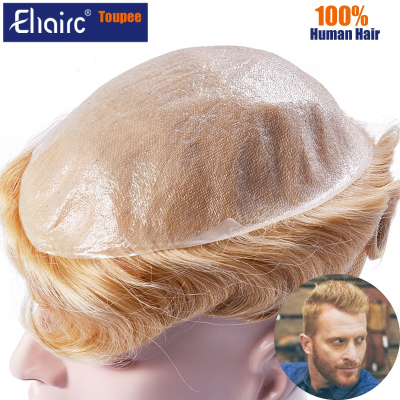 Toupee Wig For Men 0.02-0.03MM Super Thin Skin Toupee Men Wigs 613 Blond European Human Hair Replacement For Man Wig System Unit
