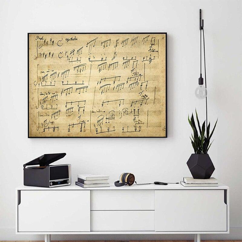 Sonata Moonlight-cartel Vintage Original, lienzo de Ludwig van beetwen, decoración de pared...