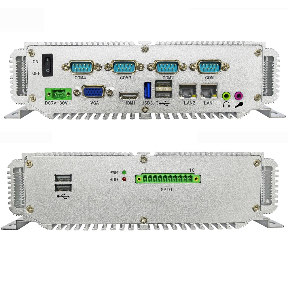 Мини-ПК Intel CPU celeron j1900 настольные компьютеры 2 * LAN промышленный ПК с поддержкой 4 Гб 64 Гб SSD