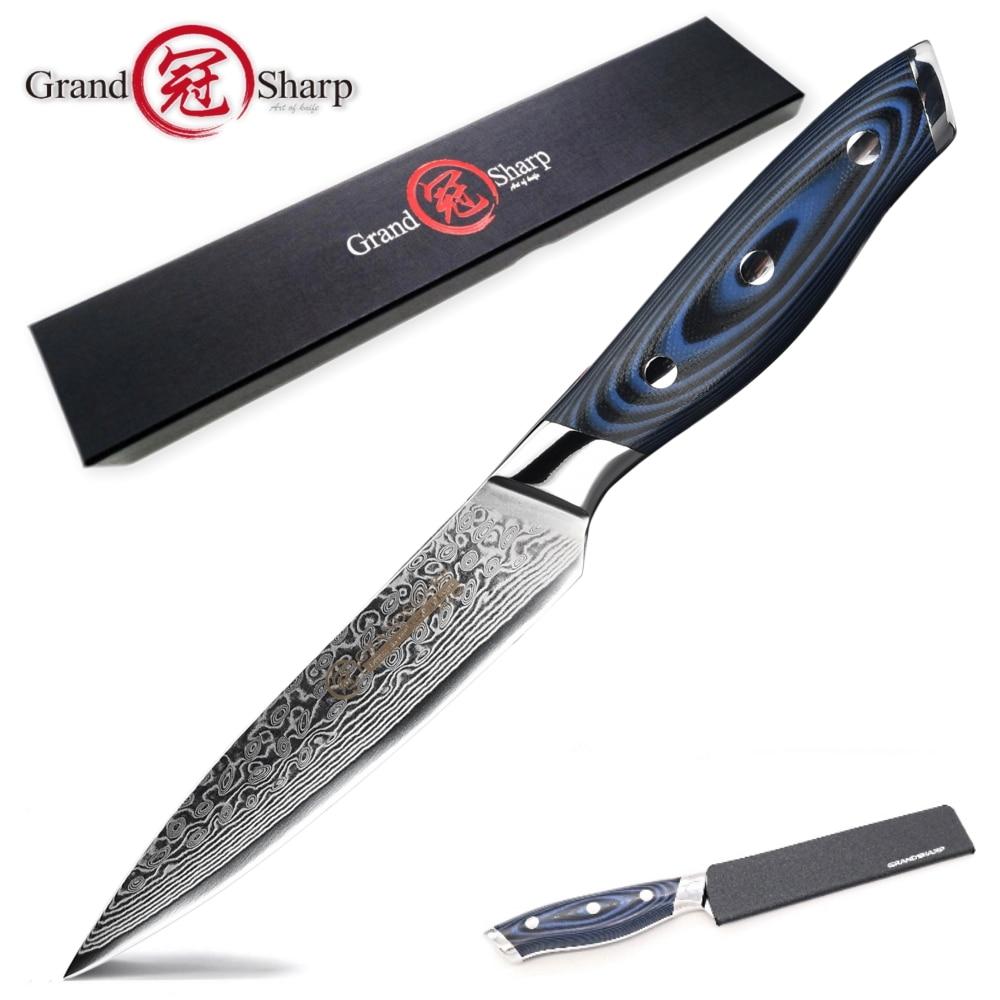 GRANDSHARP 5 بوصة سكينة 67 طبقات اليابانية دمشق الفولاذ المقاوم للصدأ VG-10 الطبخ أدوات المطبخ الشيف دمشق سكين جديد