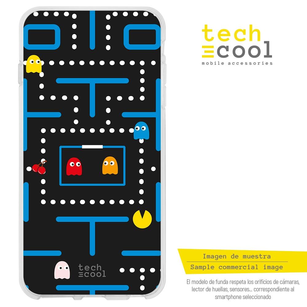 FunnyTech® Funda Silicona para Samsung Galaxy Grand Neo Plus i9060 l Pac-Man vers.1 fondo azul