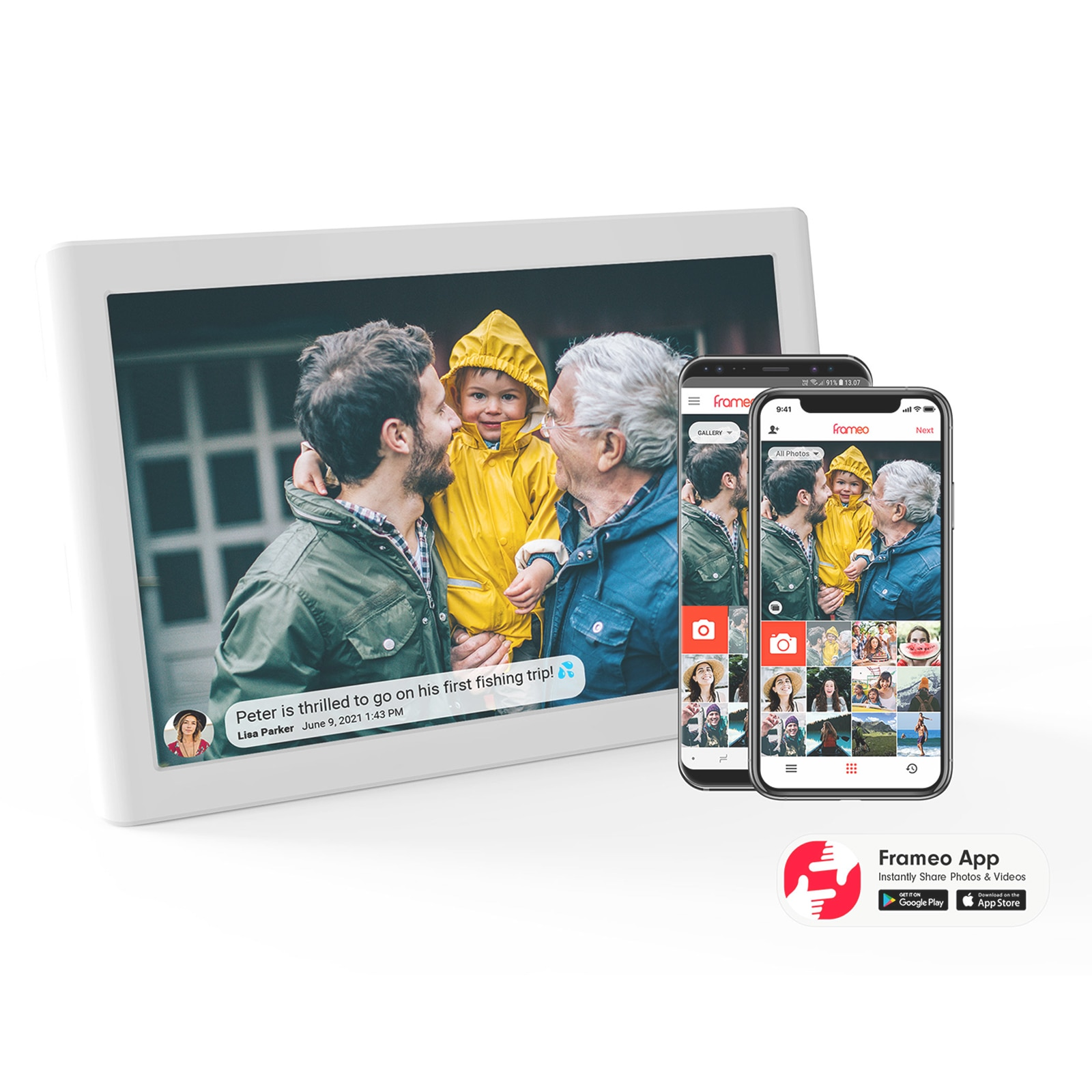 10.1 Inch Smart wifi cloud Digital Picture Frame, Share Video Clips and Photos Instantly via facebook, twitter, Frameo app