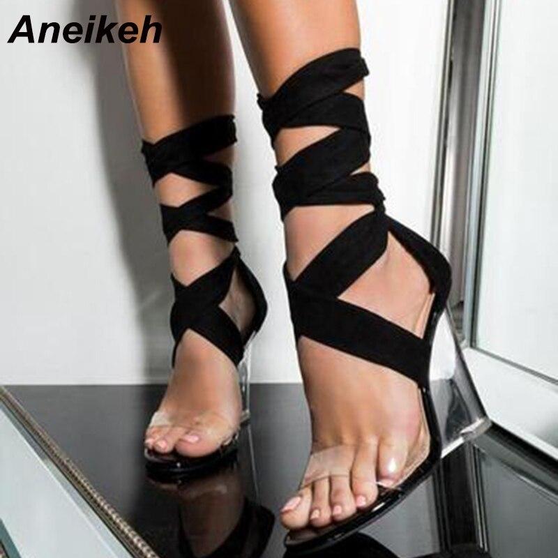 Aneikeh moda Sexy zapatos de mujer Peep Toe PVC cuñas de tacón transparente Sandalias de tacón alto gladiador correa cruzada bombas con cordones