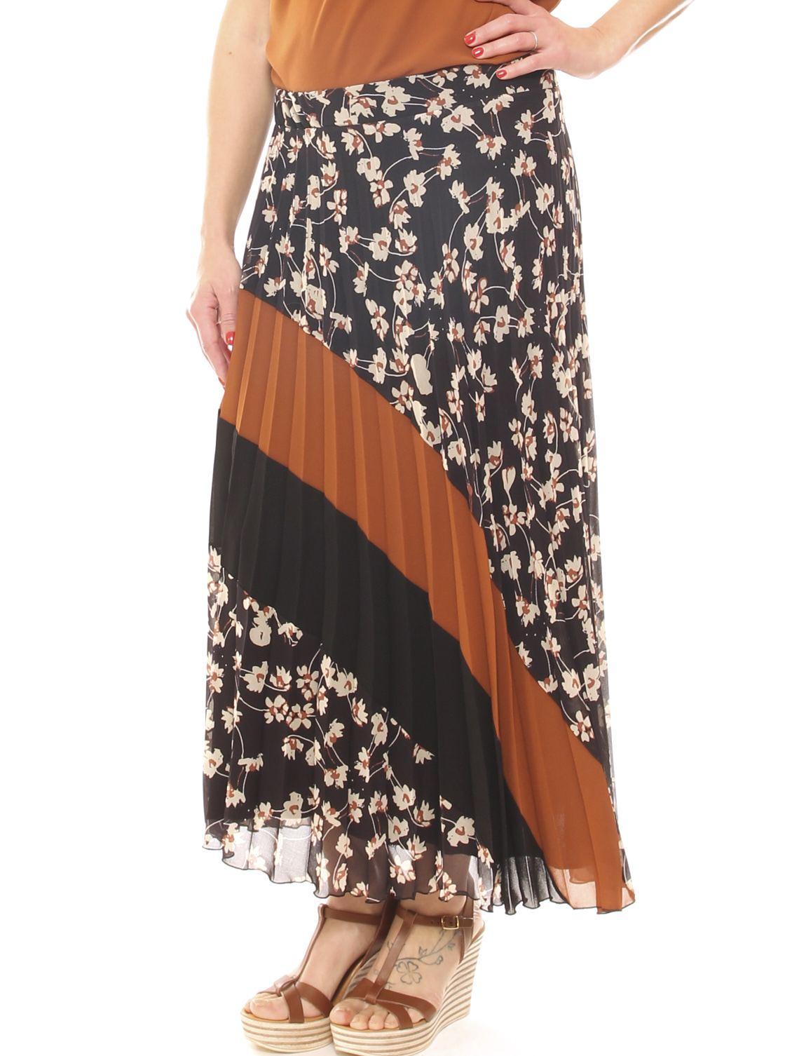 Falda larga para mujer georgette, plisada, de lujo, suave