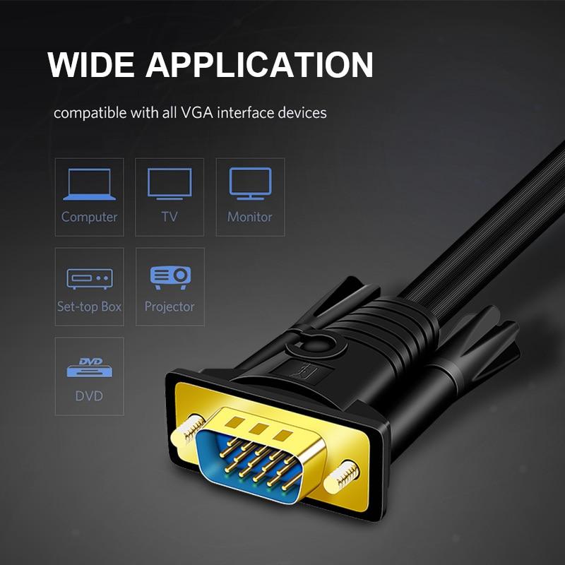 JH-LINK-Cable de extensión macho a macho VGA a VGA, extensor 3 +...