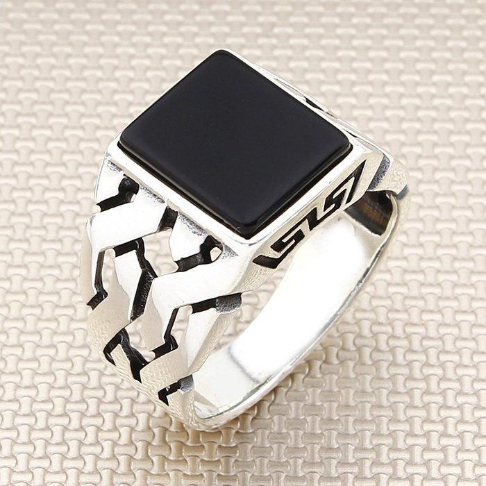 مربع أسود الجزع حجر الرجال الفضة خاتم مع سلسلة عزر صنع في تركيا الصلبة 925 فضة
