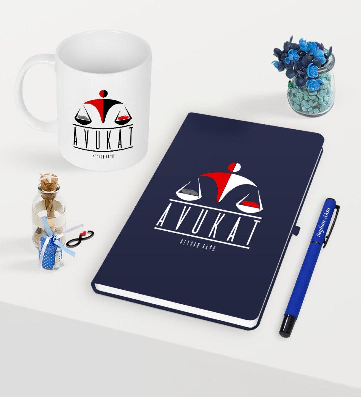 Juego de tazas de pluma de cuaderno azul marino con temática de abogado personalizada-4