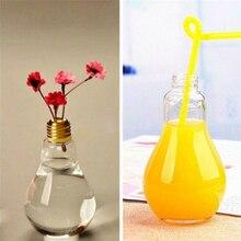 1 Pcs Creative Multiuse Plastic Light Bulb Shaped Bottle Drink Cup Water Bottle Leak-proof Plastic Bottle Party Cups Flower Vase