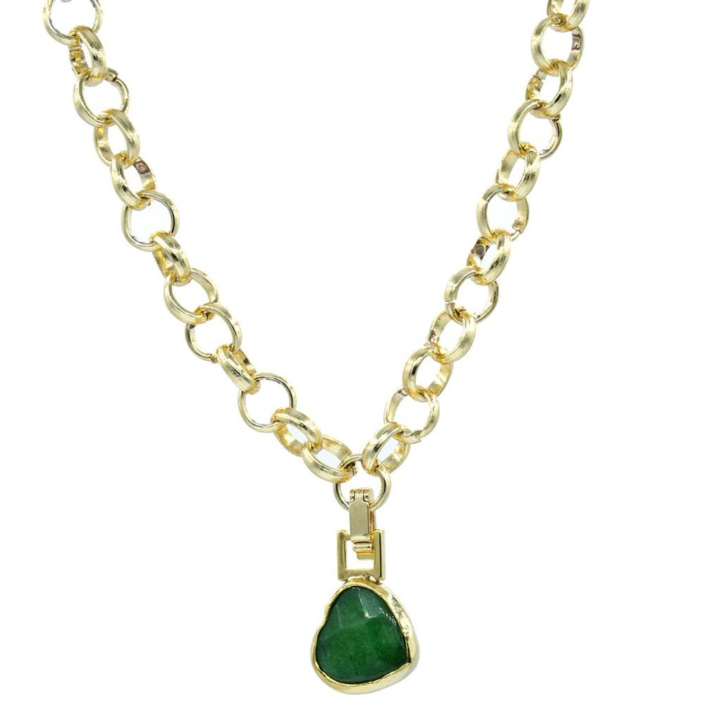 GULCE DERELI, GREEN NATURAL STONE NECKLACE, CHAIN NECKLACE, GIFT BOX, GOLD/SILVER PLATED