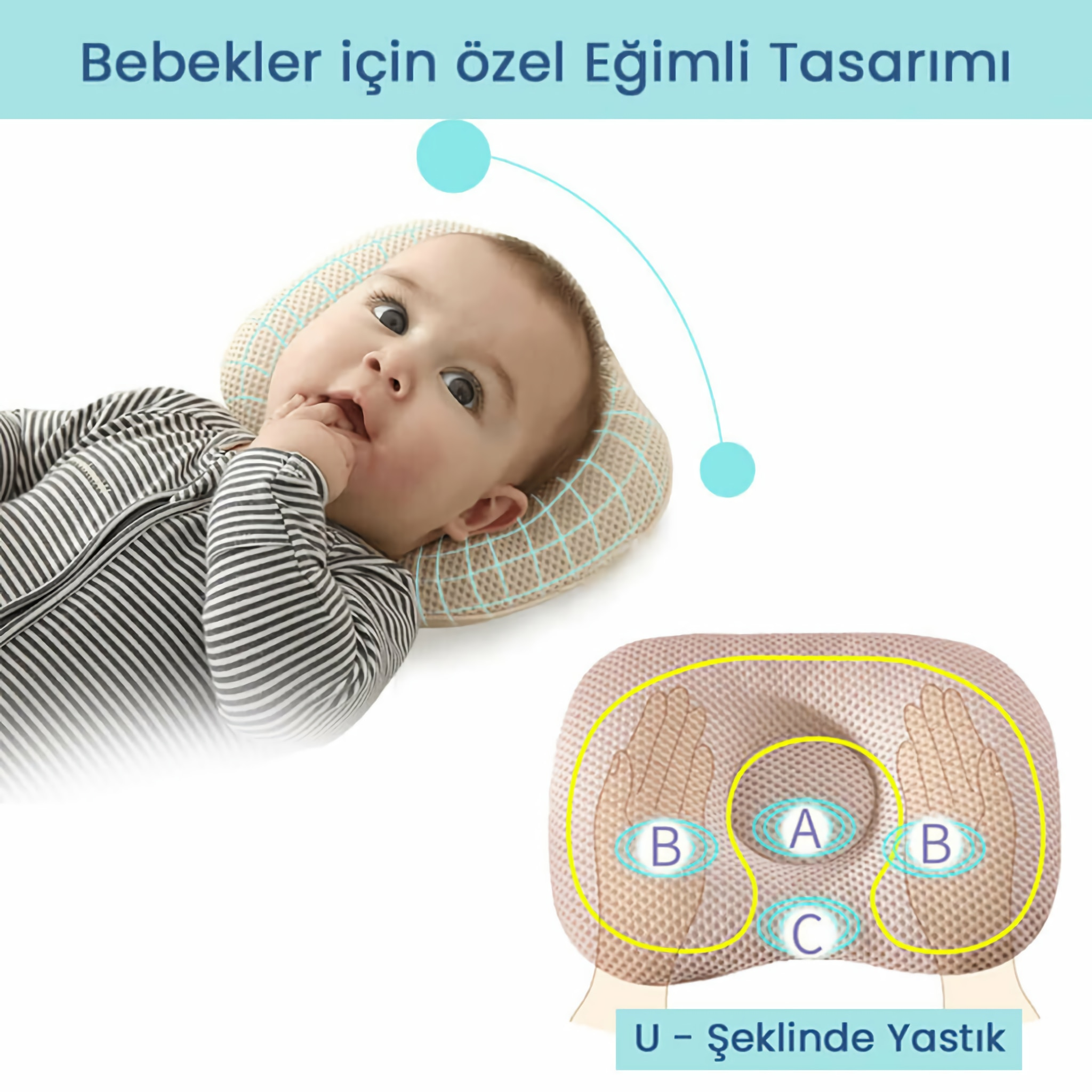 A FLAT HEAD SHAPED BABY PILLOW IN THE SHAPE OF U ( RECOMMENDATION OF PEDIATRICIANS ) enlarge
