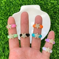 multi color cz micro pave gold plated star shape enamel adjustable finger ring electroplating jewelry fit for party gift