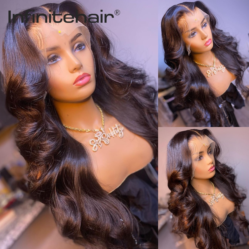 Body Wave Middle Part 13*1 T Part Lace Front 150% Density Human Hair Wigs Remy Brazilian Hair Pre Plucked Lace Wig недорого