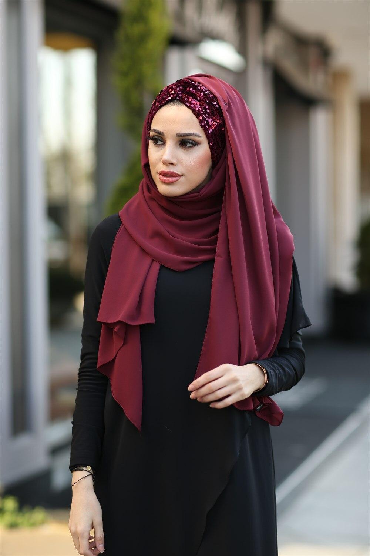 Хиджаб тюрбан шаль платок женский головной платок вуаль шифон мусульманская одежда для женщин мусульманская одежда аксессуар с блестками