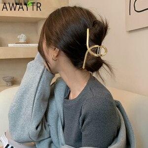 AWAYTR Women Barrettes Metal Hair Claws Hair Accessories Hairclips Hairpins Ladies Hairgrip Headwear Girls Ornaments Crab Bands